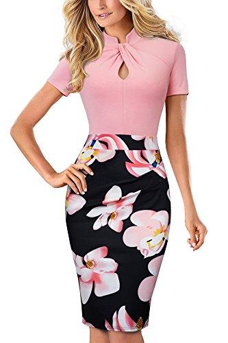 HOMEYEE Damen Vintage Stehkragen Kurzarm Bodycon Business Bleistift Kleid B430 (EU 40 = Size L, Hellrosa)