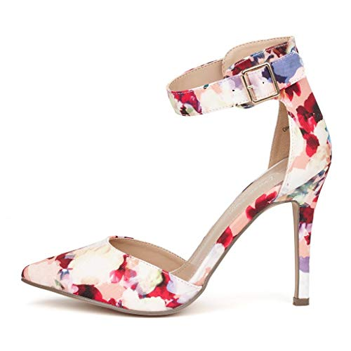 DREAM PAIRS Oppointed-Ankle Women's Pointed Toe Ankle Strap D'Orsay High Heel Stiletto Pumps Shoes Floral Size 7