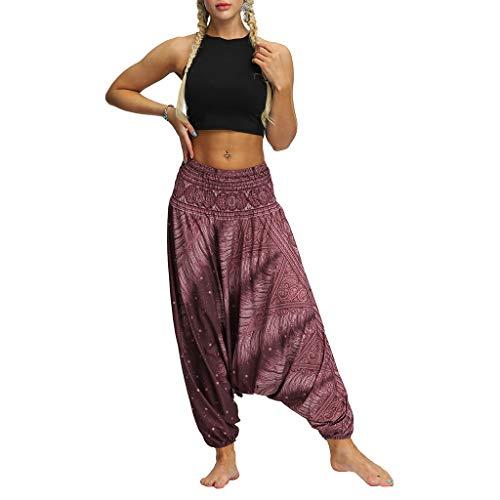 BaZhaHei 2019 Damen Hosen Blumenmuster Weite Bein Lange Hose Haremhosen Ballonhose Hippiehose Lose Yogahose Baggy Boho Aladdin Jumpsuit Pants (Freie Größe, Lila)