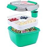 shopwithgreen boîte à salade 1300 ml bento pour le déjeuner, sans bpa, 3 compartiments pour salade
