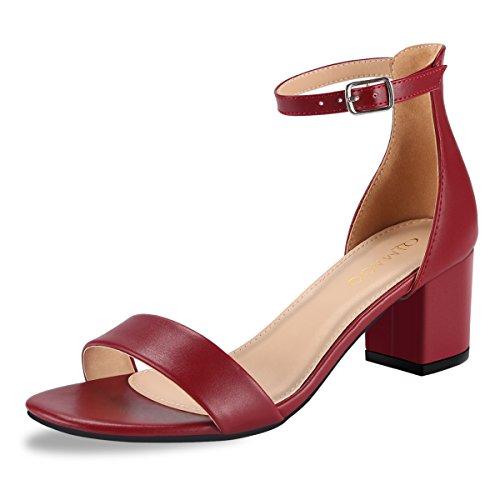 Qimaoo Damen Riemchensandalen 6cm Blockabsatz Sandalen Knöchelriemen Sandaletten Sommer High Heels Schuhe mit Absatz,Schwarz Silber Weinrot und Nude (41, Rot-klassisch)