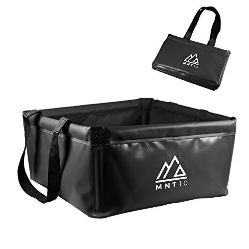 MNT10 Outdoor Faltschüssel in 15L oder 20L I Faltbare Camping Waschschüssel aus robustem Planen Gewebe I Als Camping Spülschüssel, Spülwanne oder als Faltbarer Eimer (Schwarz 20L)