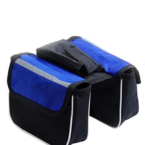 Oinna Alforjas impermeables para bicicleta de montaña, bolsa para el manillar de la bicicleta de montaña, bolsillo trasero para el asiento trasero, color azul