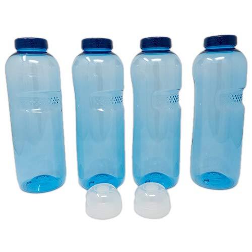 SAXONICA Trinkflasche aus Tritan 4 x 1 Liter Plus 2 x Sportdeckel Flip-Top ohne Weichmacher BPA frei (Bisphenol A frei)