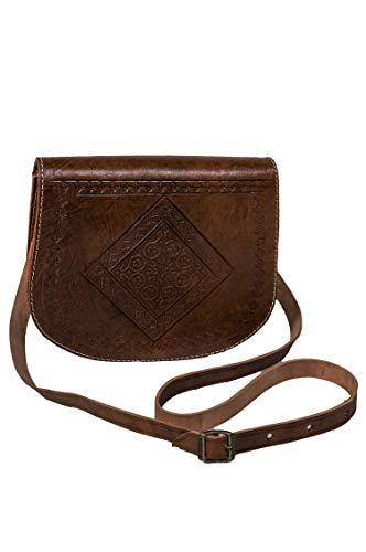 Marrakesch Orient & Mediterran Interior Marokkanische Leder Handtasche Fes - Dunkel Braun