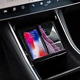 Tesla Model 3 Kabelloses Laden Mittelkonsole Wireless Ladegerät Handy-Ladepad Dual Telefone Schnellladepad Panel Auto Ladegerät für iPhone, Samsung, Huawei