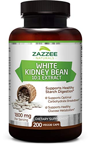 Zazzee White Kidney Bean Extract, 200 Veggie Caps, 100% Pure, 1800 mg Per Serving, Potent 10:1 Extract, 18,000 mg Strength, Vegan, Non-GMO and All-Natural