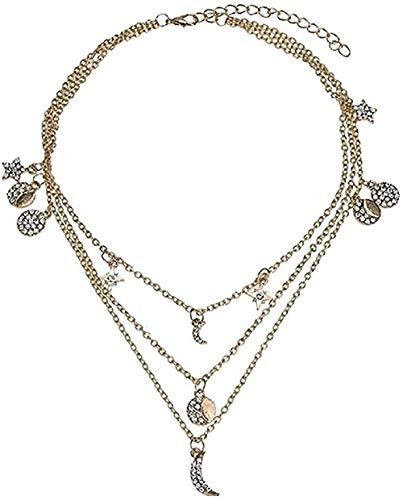 Yiffshunl Collar Collar Moda Cristal Vintage Circón Estrella Luna Novias Enviar Novia Adornos de Regalo