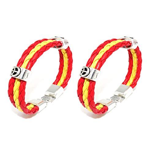 Xiton 2 PCS Weltmeisterschaft Armband Sport Armbänder Geflochtenes Nationalflagge Farben Leder-Armband Armband American Football Fußball Spiel Armband für Männer und Frauen (Spanien)