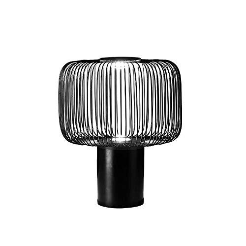 NoNo Eisen Tischlampe Nachttischlampe, Marmor Base + Eisen Lampenkörper, LED Tischleuchte Mit Guter Optischer Leistung, Wärmeisolierung, Geeignet Für Wohnzimmer/Studie/Schlafzimmer,L