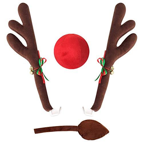 GOODGDN Christmas Car Deer Reindeer Antlers Vehicle -Reindeer Car for Christmas Car,With Red Nose Antlers Tail Jingle Bells Car Costume Kit for Xmas Decoration Festival Gift