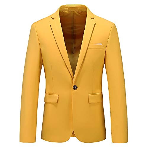 Men's Slim Fit Casual Blazer One Button Notched Lapel Turn-Down Collar Suit Jacket US Size 36 (Label Size 2XL) Yellow