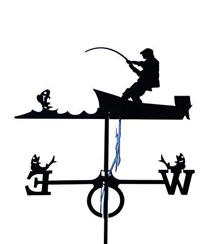 Wetterfahne 67x89cm Motiv Angler groß schwarz Stahl Windspiel