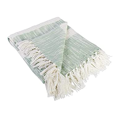 DII Rustic Farmhouse Cotton Stripe Blanket Throw with Fringe For Chair, Couch, Picnic, Camping, Beach, & Everyday Use , 50 x 60  - Distressed Mint