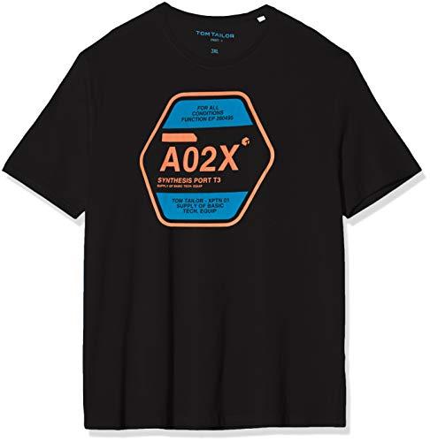 TOM TAILOR Men+ Herren Print T-Shirt, Schwarz (Black 29999), XXXXL