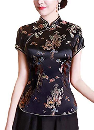 dahuo Chinesische Bluse für Damen, kurzärmelig, bedruckt, Cheongsam-Oberteil, Seide, Qipao Gr. M, 7