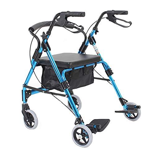 Andador Andadores para Ancianos Andador con Ruedas para Ancianos 2 en 1 Azul, Silla de Ruedas Portátil para Trabajo Pesado con Ruedas Grandes, Asiento, Freno y Respaldo, Andador Plegable