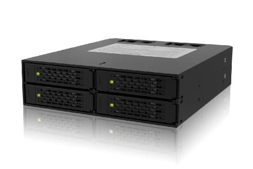 ICY DOCK Wechselrahmen für 4X 2,5 Zoll (6,4cm) SATA/SAS SSD/HDD in 1x 5,25 Zoll (13,3cm) - Vollmetall ToughArmor MB994SP-4S