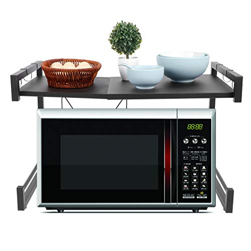 FTVOGUE- Soporte para Horno de Microondas con Gancho, Rejilla Telescópico de Horno Microondas Organizador de Cocina, Acero al Carbono Negro