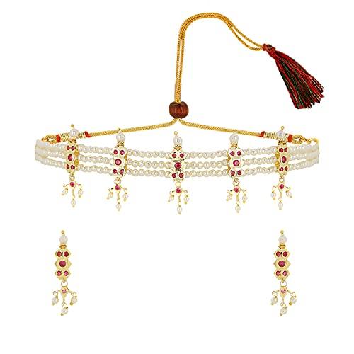 Efulgenz Juego de gargantilla de perlas de imitación con circonita cúbica y cristales de circonita cúbica para mujeres y niñas