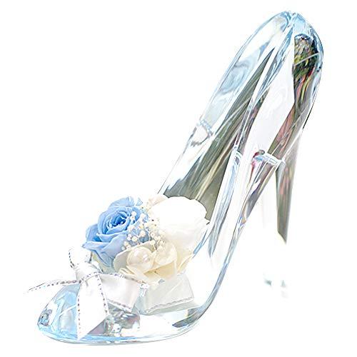 プリザーブドフラワー IPFA ガラスの靴 シンデレラ [プレゼント] ギフト/花/結婚記念日/誕生日/バラ/女性 (サムシングブルー)