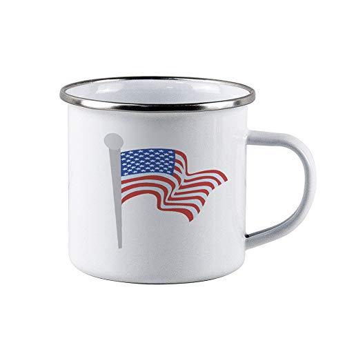 Tazza da campeggio smaltata con bandiera americana, in metallo smaltato, tazze da tè per campeggio, escursionismo, zaino in spalla
