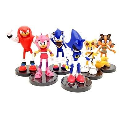 Sonic Dolls Set de 6 Muñecas de Arcilla de Ratón Supersonic Sonic The Erizo Decoración de Niños Promocional Dibujos Animados Regalos
