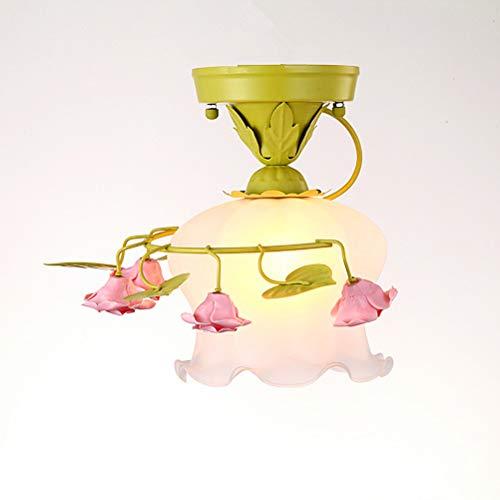Landhausstil Kreative Blume Deckenlampe, Florentiner Schlafzimmer Deckenleuchte, Glasschirme, Keramik Rose Design Deckenstrahler für Wohnzimmer Esszimmer Flur Korridor, E27 60W,Grün