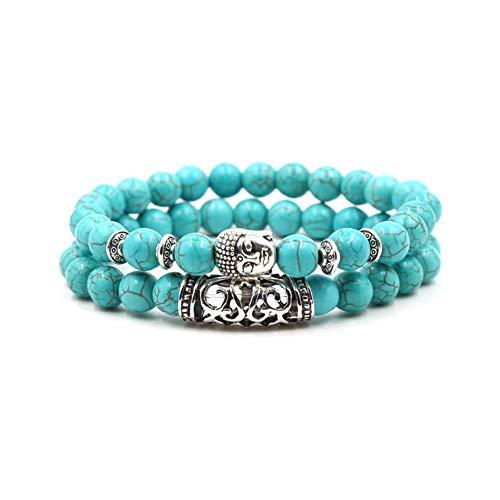 MiniJewelry Buddha Bracelet Turquoise Elastic Stretch Beaded Blessing Bracelet for Women Girls Mom Sister 2 Pcs