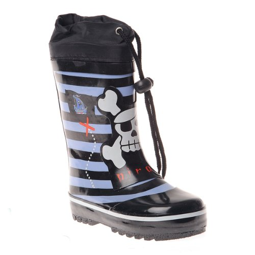 Henry Ferrera Boys Striped and Pirate Printed Waterproof Pull On Rubber Rain Boots