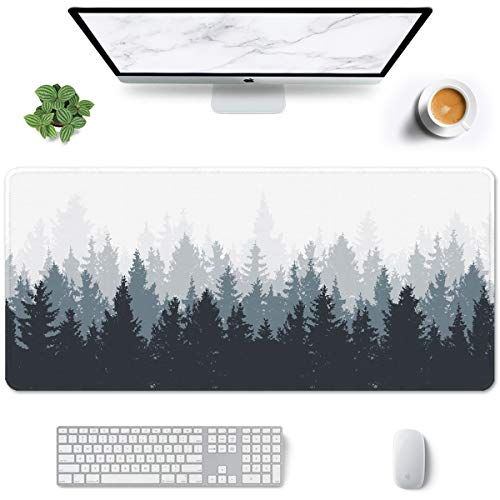 Auhoahsil Large Mouse Pad, Full Desk XXL Extended Gaming Mouse Pad 35' X 15', Waterproof Desk Mat with Stitched Edge, Non-Slip Laptop Computer Keyboard Mousepad for Office & Home, Misty Forest Design