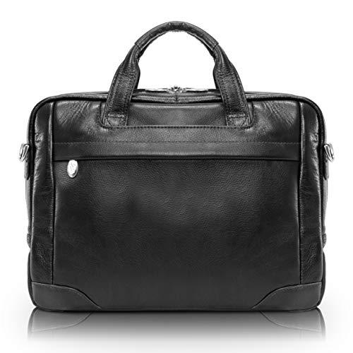 "McKlein, S Series, BRONZEVILLE, Pebble Grain Calfskin Leather, 15"" Leather Medium Laptop Briefcase, Black (15485)"