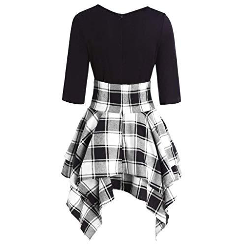 Linkay Kleid Damen Lässiger O-Neck Kurz Schnüren Sie Sich Tartan Rock Sommer Plaid Print Asymmetrical Mini Kleider Mode 2019 (Grau, Large)