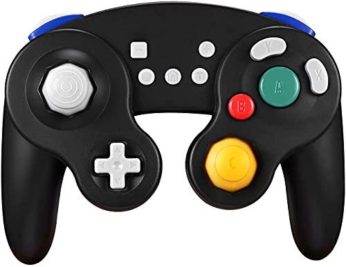 Exlene Wireless Controller Gamepad para Nintendo Switch, Recargable, Compatible con PC / PS3, GameCube Estilo, Motion Controls, Rumble, Turbo (Negro)