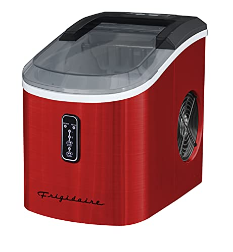 Frigidaire EFIC103AMZ-SSRED-SC SELF CLEANING AMZ-SSRED-SC EFIC103 Maker Machine Heavy Duty, 26lb Ice per Day, Stainless Steel, Red Stainless