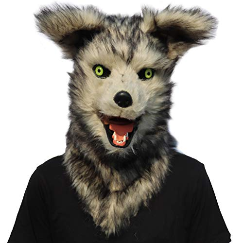 ifkoo Realistic Mouth Mover Wolf Mask for Halloween Party Costume Plush Moving Mouth Jaw Fursuit Head Werewolf Mask Adult (Wolf) Grey