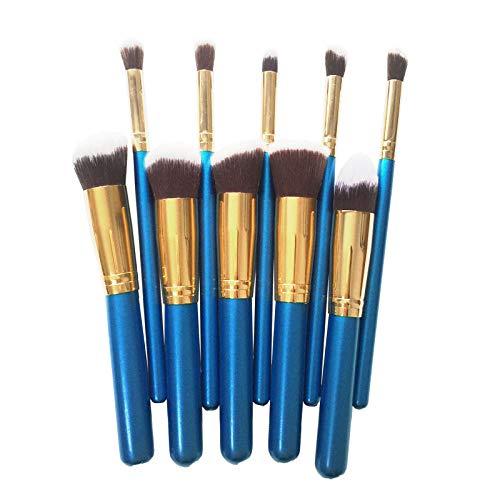 Maquillage Brush Set,Trousse de beauté portative pour femme, 10 pièces de haute qualité avec manche en bois, pinceau à maquillage, bleu