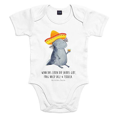 Mr. & Mrs. Panda Baby, Kurzarm, 12-18 Monate Baby Body Axolotl Tequila mit Spruch - Farbe Transparent