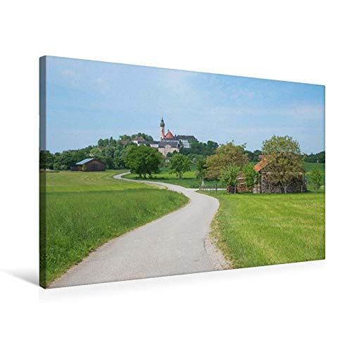 Premium Textil-Leinwand 75 x 50 cm Quer-Format Wanderweg zum Kloster Andechs, Leinwanddruck von SusaZoom