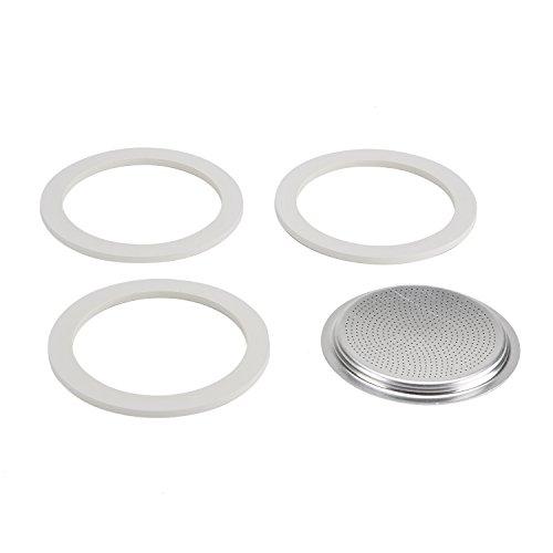Bialetti Kaffeemaschine 9 Tassen Ersatz-Kit (Gummidichtung und Filter) aus Aluminium, Silber, 8.1 x 8.1 x 0.3 cm
