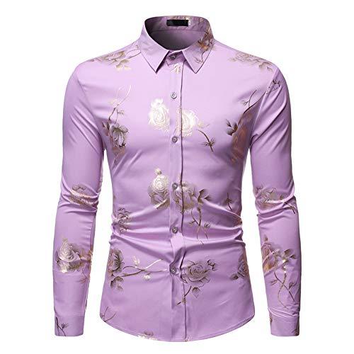 Camisa de hombre de poliéster bronce rosa patrón de flores solapa manga larga cárdigan para hombre Tops 6 colores disponibles, morado, pequeño