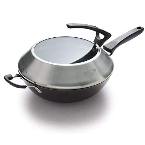 GCCLZ Wok - fondo redondo moldeada wok de hierro Pot No se Revestimiento No Rust antiadherente olla wok Inicio