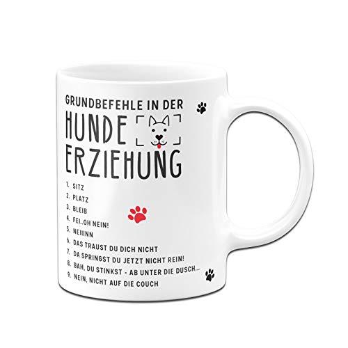 Tassenbrennerei Tasse mit Spruch Grundbefehle in der Hunde-Erziehung - Kaffeetasse lustig Geschenk für Hundebesitzer - Spülmaschinenfest