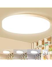 LEOEU Led-plafondlamp, warmwit/neutraal wit/koudwit, 24 W, 2400 lumen, waterbestendig, IP54 led-plafondlamp voor badkamer, woonkamer, slaapkamer, lichtkleur (3000 K/4000 K/6500 K) instelbaar via schakelaar