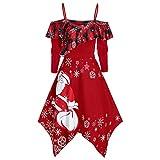 MIRRAY Weihnachten Damen Snowflake Druck Langarm Kleid Rockabilly Cocktail Abendkleider