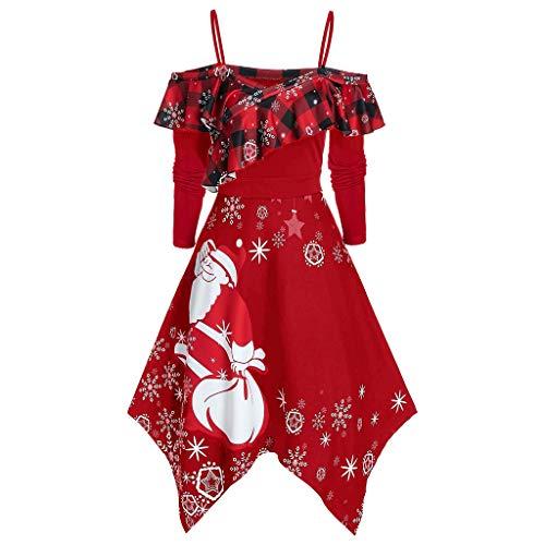 GATIK Damen Riemchenbluse Langarm-Weihnachtspullover Lustiges Muster Tunika mit Schottenmuster Unregelmäßiges süßes...