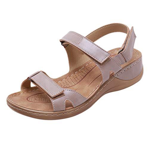 PPangUDing Sommerschuhe Strandschuhe Damen Sexy Peep Toe Freizeit Urlaub rutschfest Flache Schuhe Sandalen Party Schuhe Hausschuhe Flats Open Toe Wedges Freizeitschuhe