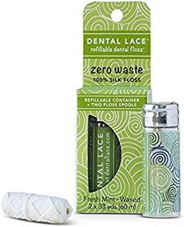 Dental Lace | Silk Dental Floss | Includes 1 Refillable Recyclable Green Dispenser and 2 Floss Spools with Natural Mint Flavoring | 66 yards