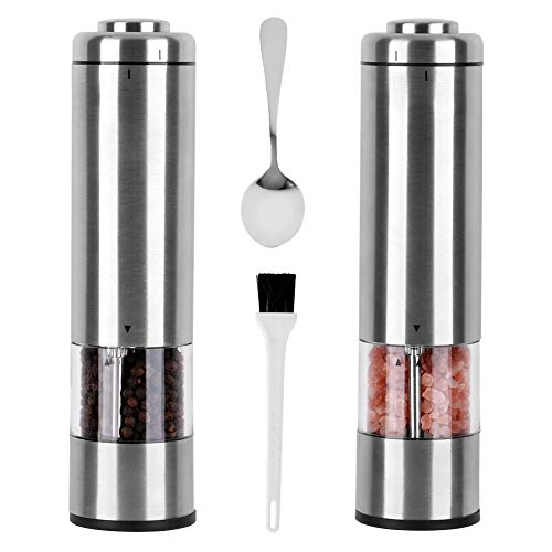 Electric Pepper Grinder Salt Grinder And Pepper Shaker Mill Set With Free Stainless Spoon & Cleaning Brush, Adjustable Coarseness Stainless Steel – Battery Operated with Light… (Pack of 2)