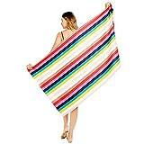 Toalla de playa de gran tamaño, grandes toallas de playa con rayas de colores (31 x 63 pulgadas), secado rápido y alta absorción toallas de piscina para nadar o bañarse